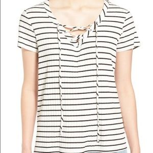 0715991dd9a Gibson Tops - Gibson Lace Up Ribbed Tee